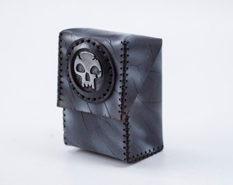 Magic Deck Holder - EXPRESS SHIPPING - Custom Leather Deck Box - Black MTG Deck - Trading Cards - Black Mana