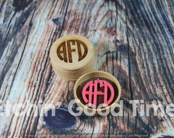 Monogram Necklace - Custom Circle Monogram Acrylic Necklace with Engraved Box