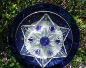 Celestial Blue Moon and Star Plate Flower, Close Out Sale