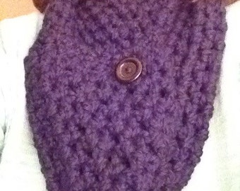 Crochet Buttoned Infinity Scarf Worn 3 Ways