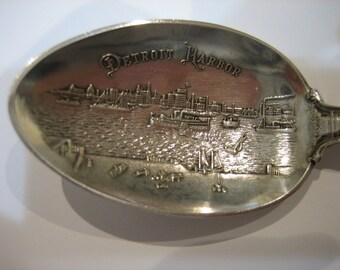 Antique Sterling Silver Detroit Harbor Collectible Spoon