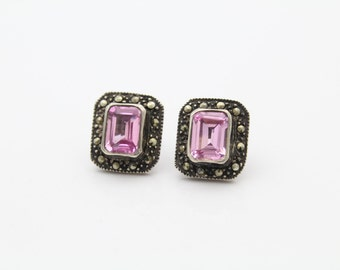 Lovely Silver Statement Earrings with Pink Crystals and Marcasite. [6358]