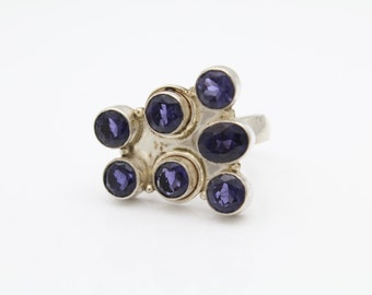 Handcrafted Artisan Cluster Ring with Purple Iolite in Sterling Silver Size 8. [9326]