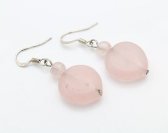 Handcrafted Heart-Shaped Rose Quartz Dangle Earrings in Sterling Silver. [10344]