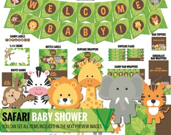 Safari Baby Shower package, to decor your safari baby shower - Printable PDF files.