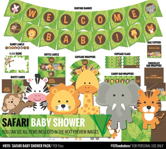 safari baby shower package to decor your safari baby shower