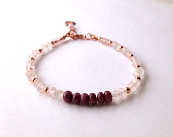 Pink Bracelet, Rose Quartz and Ruby Bracelet, Natural Gemstone