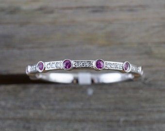 14k White Gold Round Cut Red Ruby And Diamond Engagement Pave Stackable Stacking Promise Ring Anniversary