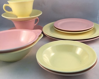 Vintage T S & T Lu Ray Pastels Dishes, Set of 12, 1940's