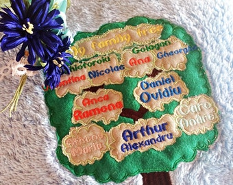 Family Tree Embroidery Aplique Design Pattern