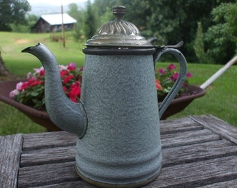 Antique Lalance and Grosjean, L & G Mfg. Company Agate Ware/Enamel ware Coffee Pot