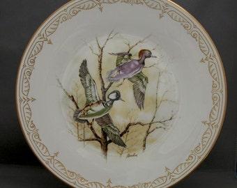 Vintage Boehm Water Bird Bone China Plate Hooded Merganser Ducks, Limited Edition