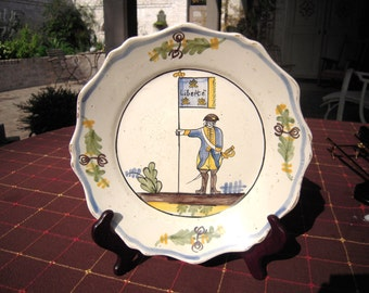 Antique French Revolution Plate Faience Liberty