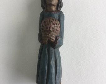 Brazilian Art Naif Woman with flowers figurine
