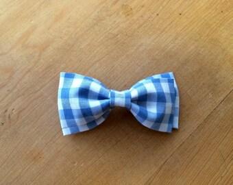 Light Blue Gingham Bow tie