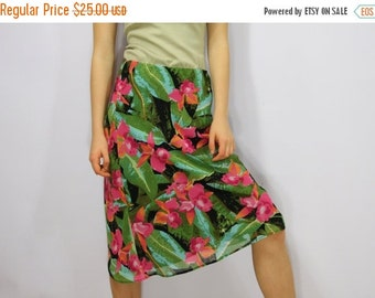 ON SALE Flowers Skirt Knee Length Orchid Print Pink Green Floral Skirt Elastic Waist Small Size