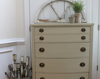 Vintage Chest of Drawers - Annie Sloan Chalk Paint - Country Grey - Dresser
