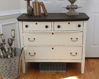 Vintage Dresser - Chest of Drawers - Annie Sloan Chalk Paint - Old White - Stained Top