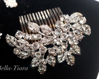Crystal wedding hair comb, bridal pearl hair comb, wedding comb, wedding hair accessory, rhinestone side wedding hair comb