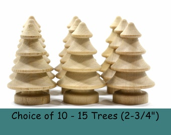 """Wooden 3-Dimensional Trees (2-3/4"""")-Choice of 10 -15 Trees-Solid Hardwood Natural Unfinished High Quality Turnings-Ready for Paint or Stain"""