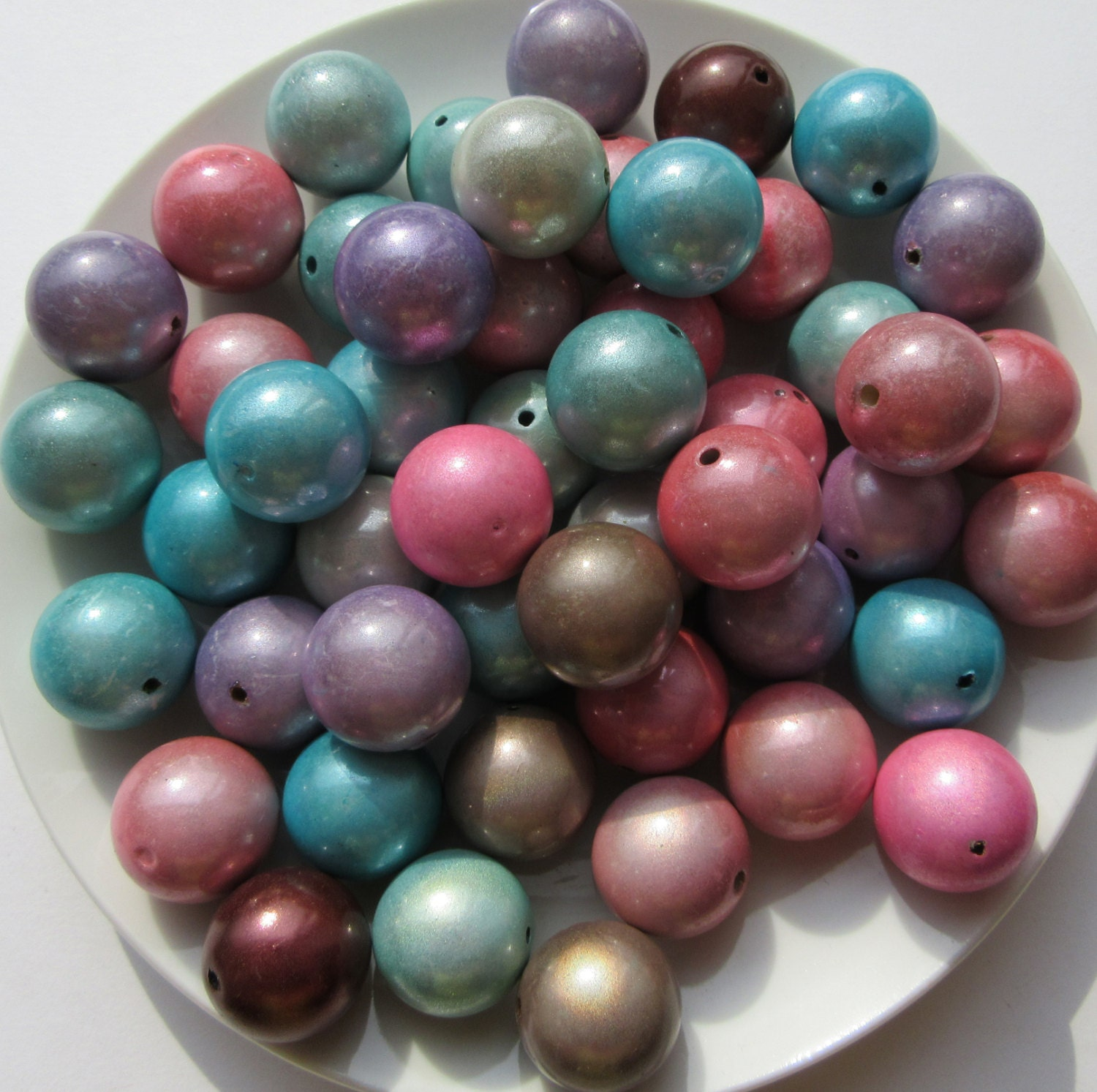 20mm Bead Beads: 10 Large 20mm Round Bubble Gum Beads Miracle Beads