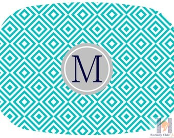 Monogrammed Diamond Turquoise, Navy & Gray Serving Platter. Be the perfect hostess and entertain with style! Custom colors available!
