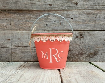 Personalized Rustic Flower Girl Basket, Coral Pail with Cream Lace, Rustic Wedding Decor, Flower Girl Bucket, Shabby Chic Wedding Decor