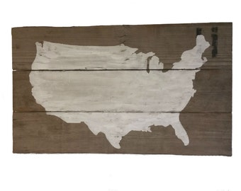 Gallery Wall Sign - Continental United States - America Decor - Patriotic Sign - USA - Reclaimed Barn Wood - 4th of July - Rustic Americana