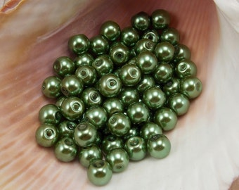 6mm Glass Pearls - Olive Green - 75 pieces - Fern - Moss - Forest