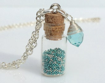 Aquamarine/March Glass Charm with Paradise/Silver Caviar Beads in a Bottle