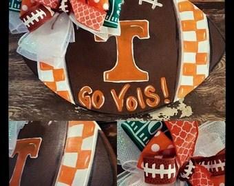 wooden collegiate football door hanger. Tennessee VOLS door hanger. football door hanger. Go VOLS door hanger. TN door hanger.