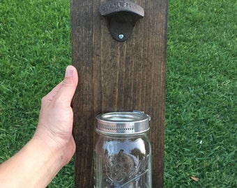 Bottle opener, mason jar bottle opener, beer cap catcher, Groomsman gift, bottle opener, gift for him, man cave decor, mason jar wall mount