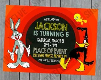 Looney Tunes Birthday Invitation - Bugs Bunny Daffy Duck Tweety Bird Birthday Invitation - Bugs Bunny Birthday