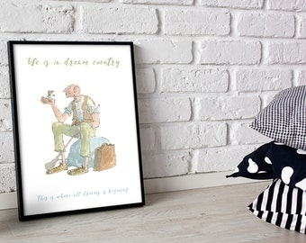 Roald Dahl BFG Poster Quote 'We is in Dream Country Now' Poster Print A3 or A4