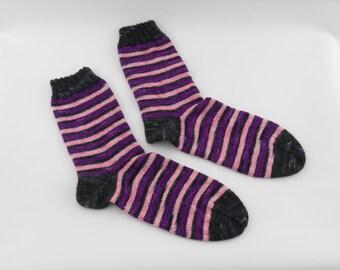 Hand knitted socks, size 38/39 (EURO), black, pink, purple,  merino nylon