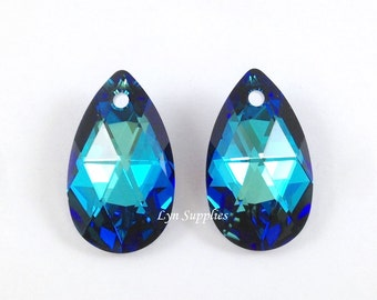 6106 BERMUDA BLUE 22mm Swarovski Crystal Teardrop Pendant 2pcs or 6pcs Peacock Blue Special Effects