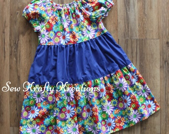 Children's Size 8 - Bright Multicolor Flowers with Blue Middle Tier Spring Dress