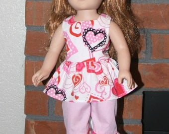 "Valentine's day inspired Set for 18"" doll like American Girl"
