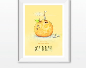 James And The Giant Peach / Nursery, baby room unframed art print. Children's book concept cover