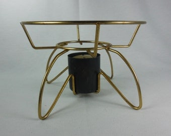 Candle Warmer Warming Stand Gold Tone Metal Teapot Coffee Pot Casserole