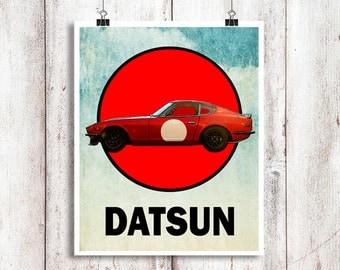 "Datsun 240Z Poster, Automotive Art, Datsun Race Car, Datsun Z, Automotive Decor, 240Z, Instant Download, Datsun 240Z, 8x10"", 11x14"""