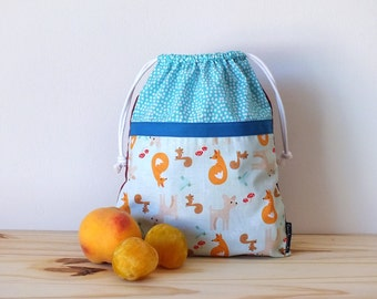 Forest animals fabric bag for kids, lunch bag, reusable snack bag for school