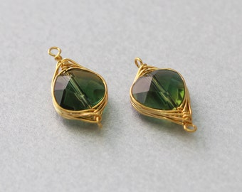 Watermelon Gemstone Pendant . Polished Gold Plated . 10 Pieces / G3014G-WM010