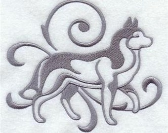 PAIR hand towels - Graceful Siberian Husky- EMBROIDERED 15 x 25 inch for kitchen or bath