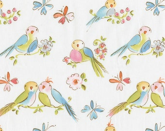 Love Birds Fabric - By The Yard - Girl / Vintage / Fabric
