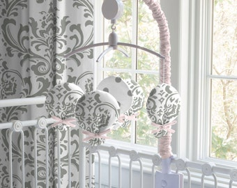 Carousel Designs Pink and Gray Traditions Musical Mobile