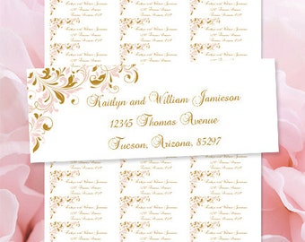 "Printable Address Labels ""Kaitlyn"" Blush Pink & Gold Word.doc Avery 30/per sheet Compat. Instant Download ALL Colors Available DIY U Print"