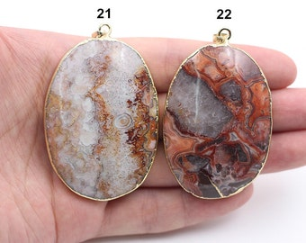Mexican Crazy Agate Pendants -- With Electroplated Gold Edge Charms Wholesale YHA-168