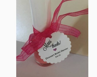 Personalized Mani Thanks Bridal Baby Shower Thank You Favor Tags Scalloped Round or Heart Shaped