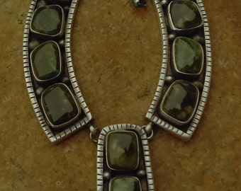 Native american necklace  by the artist D Livingston with royston turquoise on crafted sterling silver
